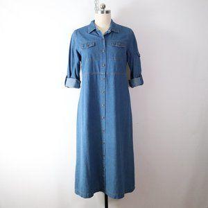 vintage 90s soft denim shirt dress L